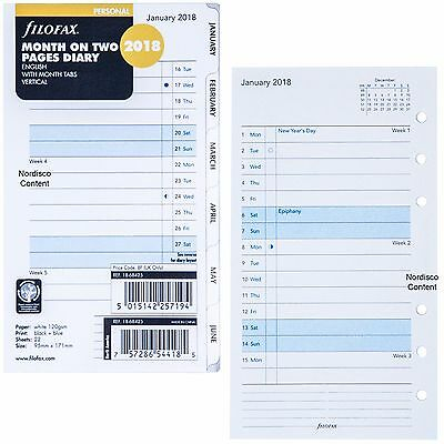 2018 Filofax Personal Size Refill 18-68425, Month On Two Pages, 95mm x 171mm