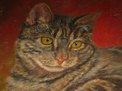 "Vintage Brown Tabby Cat Painting Amateur Primitive Folk Art 12"" x 14.5"" Unframed"