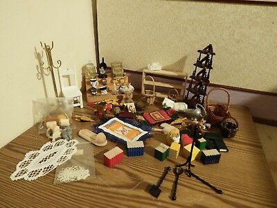 60  dolls house assortment job lot of household items shop/house  1.12th