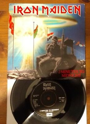 """Iron Maiden: (Two) 2 Minutes To Midnight UK 7"""" '84 EMI 5489. Paper Label"""