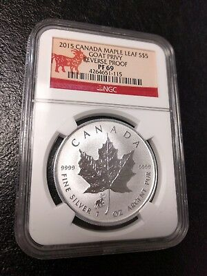 2015 1 oz Canadian Silver Maple Leaf  Goat Privy Reverse Proof NGC PF 69