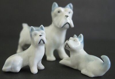 Lot of 3 Small Vintage Porcelain Schnauzer Type Dog Figurines Marked Germany