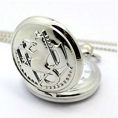 V-Vitoria Silver Retro Fullmetal Alchemist Edward Elric's Pocket Watch