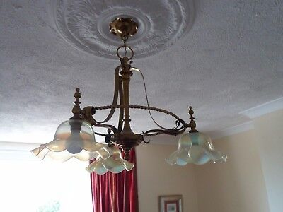 Edwardian brass light fitting with 3 vaseline glass shades.