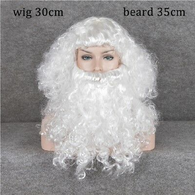 Christmas Wigs Long White Santa Claus Wig+Beard Christmas Party Costume Wig