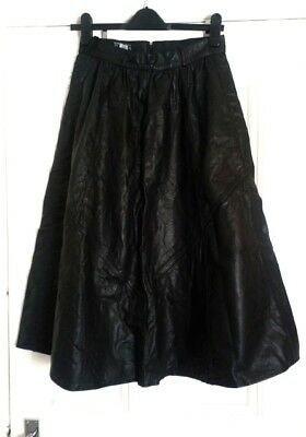 vintage 80s real leather flared black long skirt midi high waisted goth