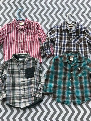 Lot Of 4 Size 2T Toddler Boys Collared Shirts Button Up