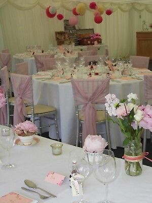 25 Dusky Pink/ Lavender Chiffon Chair Cover Hoods (1 Day Auction)