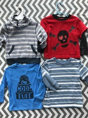 Lot Of 4 Size 2T Toddler Boys Long Sleeve Shirts Crazy 8 Old Navy