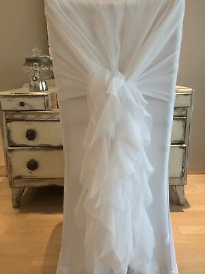40 Ivory Chiffon Chair Cover Hoods With Optional Ruffle Tails (low Start Price)