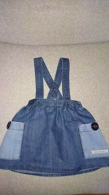 NEXT Girls Denim Dungaree Skirt. 12- 18 months