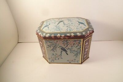 Vintage Meister Made in Brazil Metal Candy Tin Box Blue Birds