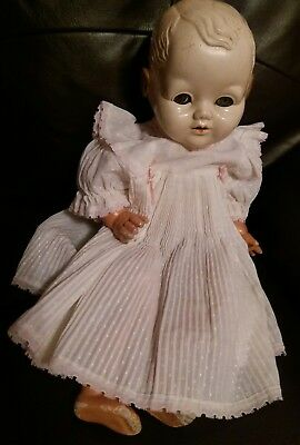 """Early Vintage Doll Composition Hard Plastic  Doll Straw Filled  21"""" 1930s 40s"""