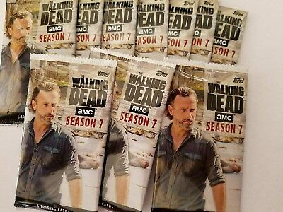 Unopened 2017 Topps Walking Dead Season 7 (10) Pack Lot Hot Packs? Auto? Mudd?
