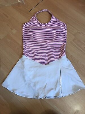 Girls Age 12-14 Striped Ice Skating Dress In Pink