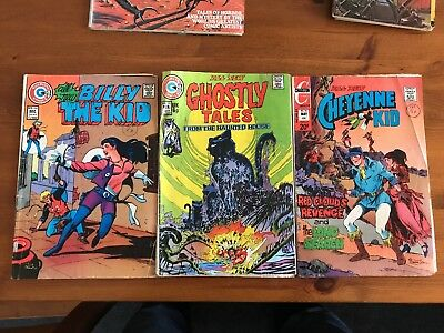 Charlton Comics x3 Cheyenne Kid, Billy The Kid, Ghostly Tales