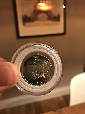 Ultra rare Aquatic 2011 Lines over face 50p Olympic Coin.