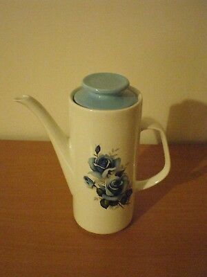 1970's white/floral coffee pot and pale blue matching lid by Studio JG Meakin