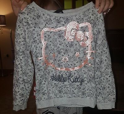 girls hello kitty jumper grey with glitter detail age 5-6