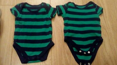 two stripey baby vests 0-3 months