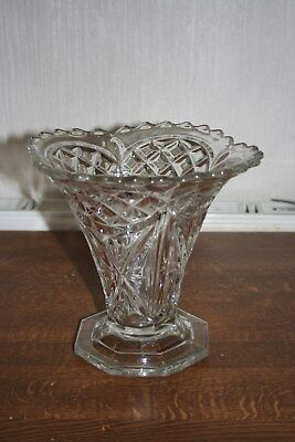 Vintage Large Cut Glass  Flower Vase - Excellent Condition