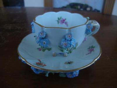 Fine Antique Meissen Porcelain Hand Painted Cup And Saucer. C1880