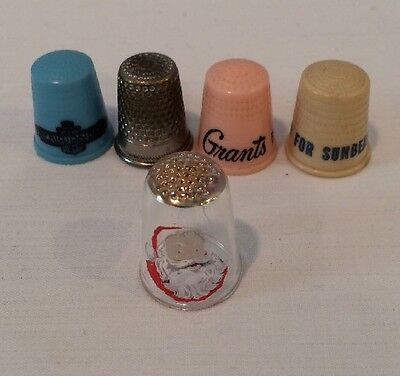 Rare Vintage Lot of 5 Collection Of Thimbles Advertising Etc.Glass Plastic Metal