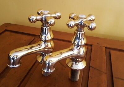 Antique/Vintage Victorian Large Brass Gold Plated Pair of Bath Taps