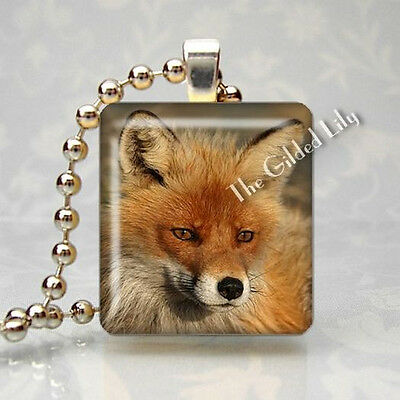 RED FOX FOREST ANIMAL Altered Art Scrabble Tile Pendant Jewelry Charm