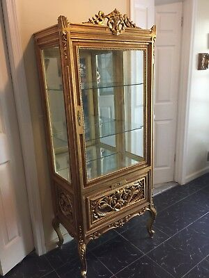 Gorgeous French Louis Style Gold Gilt Vitrine Curio Display Cabinet