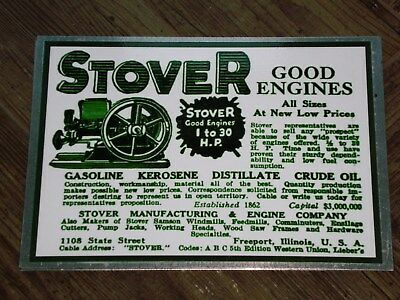 1 x STOVER ADVERT STYLE DISPLAY BOARD STATIONARY ENGINE OPEN CRANK