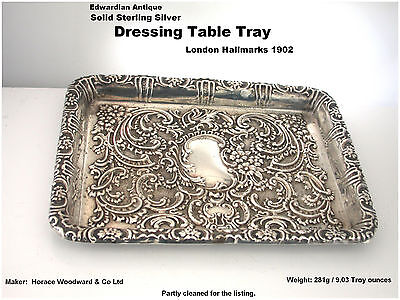 Antique Silver Dressing Table Tray solid Sterling Edwardian London HM c1902