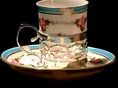 Rare Early Antique Solid Silver Cup Holder & Original Cup & Saucer FreeUKP&P