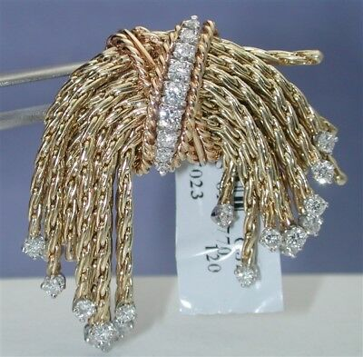 $15,500~Rare Museum 14Kt 29.6Gr~1.80Ctw G/vs French Braid Tassel Huge Brooch-$99