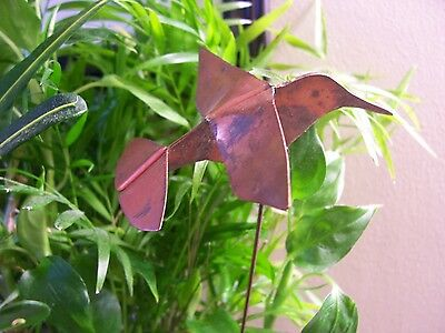 Solid Copper HUMMINGBIRD Decorative Plant Garden Stake Hand Crafted Made in USA