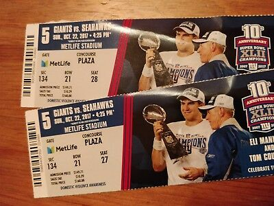 NY GIANTS vs Seattle Seahawks Two (2) TICKETS for $250 - 10/22/17 4:25pm.