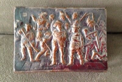 Antique / Vintage Silver Metal Match Box Cover Case - Men with Muskets -Unmarked