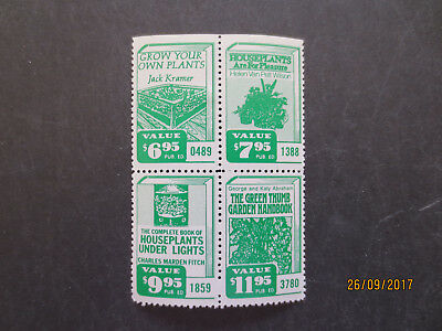 No--5---BOOK  ADVERTISING   STAMPS  --BLOCK  OF  4 STAMPS  --MINT WITH GUM