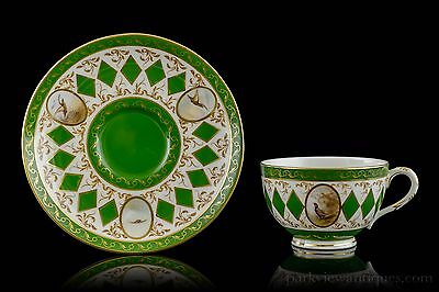 Royal Worcester Pheasant Cabinet Cup and Saucer, Manner of James Stinton C. 1907