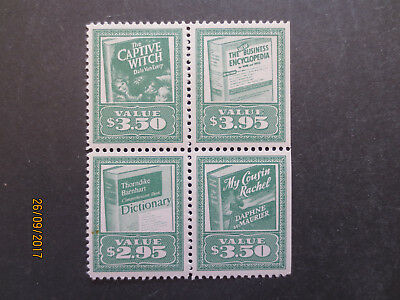 No--7----BOOK  ADVERTISING   STAMPS  --BLOCK  OF  4  STAMPS  --MINT WITH GUM