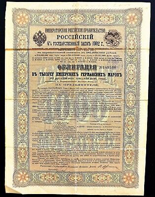 Russia - 4% Russian Government 1902 -Boxer Loan for repayment China-Historical