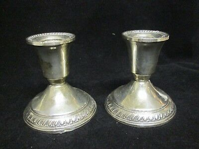 Pair of Weighted Sterling Candle holders, Candlesticks, damaged scrap or use