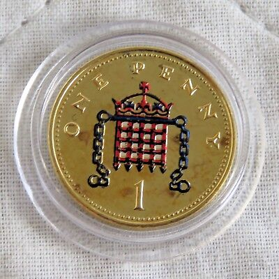 2004 Qeii One Pence Layered In Pure Gold And Accented In Full Colour