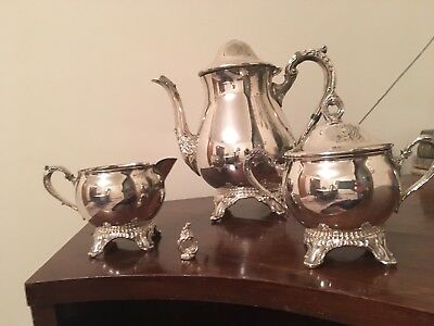 Viners Silver Plate Silverplate Art Nouveau Style Coffee Tea Set With Teapot
