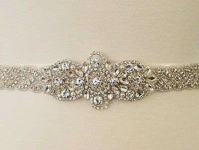 Wedding Bridal Sash Belt, Crystal Pearl Wedding Dress Sash Belt = 20 INCHES