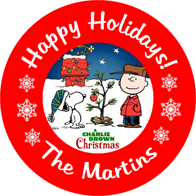 Charlie Brown Christmas Snoopy Peanuts Round Stickers Favors Labels,  All Sizes