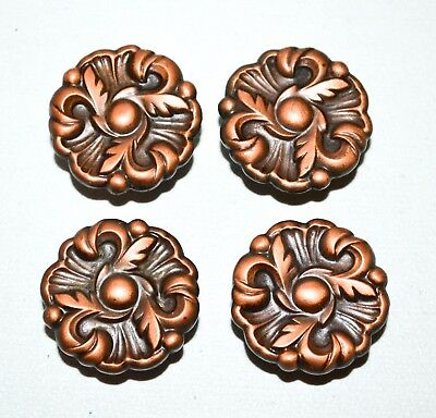 Vintage 1960 RDCA Copper Drawer Pull Knob French Provincial Ornate Rosette K62