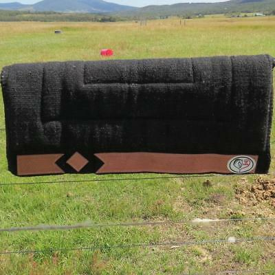 LOVE MY HORSE Thick Wool Stock / Western Saddle Blanket Pad Black