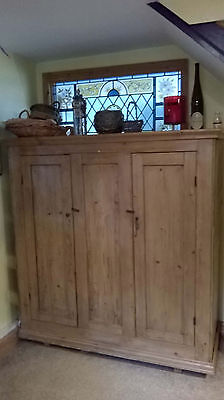 Antique Victorian large two-door pine cupboard pantry shelves cabinet