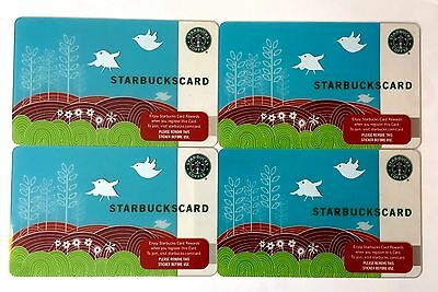 Lot of 4 Starbucks Card Swallows Song Spring 2008 US VERSION NEW